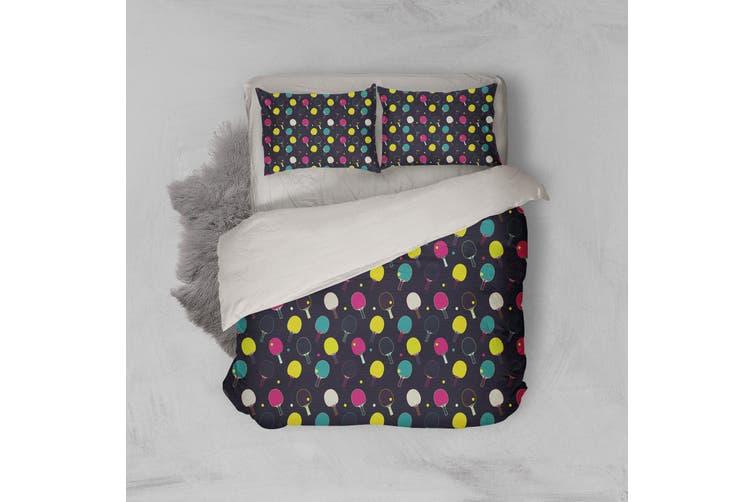 3D Black Table Tennis Ball Quilt Cover Set Bedding Set Pillowcases 105-Queen