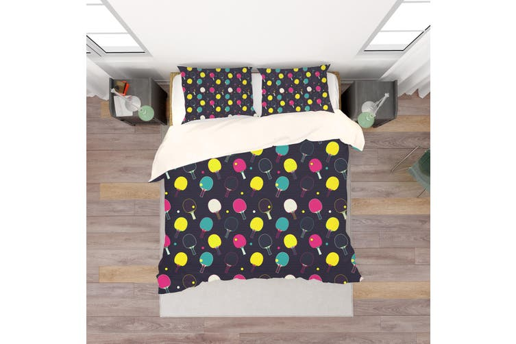 3D Black Table Tennis Ball Quilt Cover Set Bedding Set Pillowcases 105-King