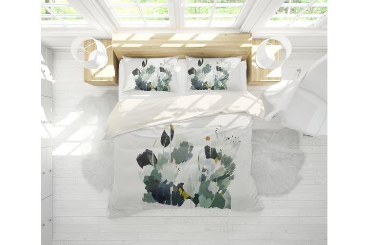3D Green Plant Watercolor Quilt Cover Set Bedding Set Pillowcases  64-Double