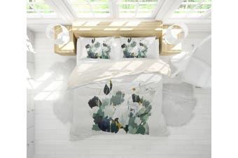 3D Green Plant Watercolor Quilt Cover Set Bedding Set Pillowcases  64-Queen