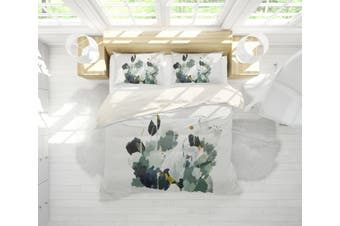 3D Green Plant Watercolor Quilt Cover Set Bedding Set Pillowcases  64-King