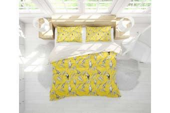 3D Yellow Toucan Parrot Leaves Quilt Cover Set Bedding Set Pillowcases 104-Single