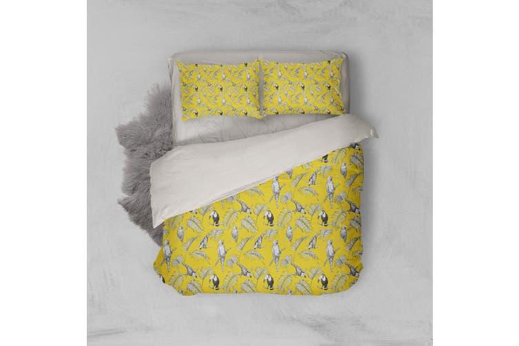 3D Yellow Toucan Parrot Leaves Quilt Cover Set Bedding Set Pillowcases 104-Double