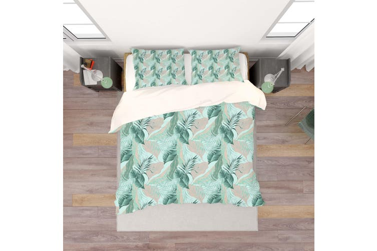 3D Green Tropical Leaves Quilt Cover Set Bedding Set Pillowcases 103-Queen