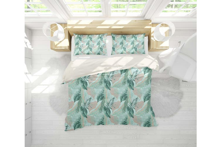 3D Green Tropical Leaves Quilt Cover Set Bedding Set Pillowcases 103-King