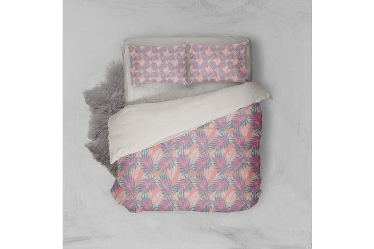 3D Pink Leaves Feather Quilt Cover Set Bedding Set Pillowcases 102-Single