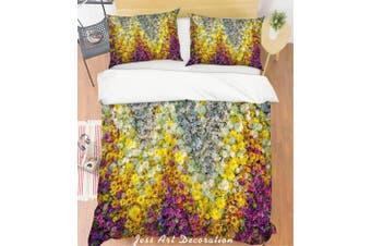 3D White Flowers Quilt Cover Set Bedding Set Pillowcases 125-Queen