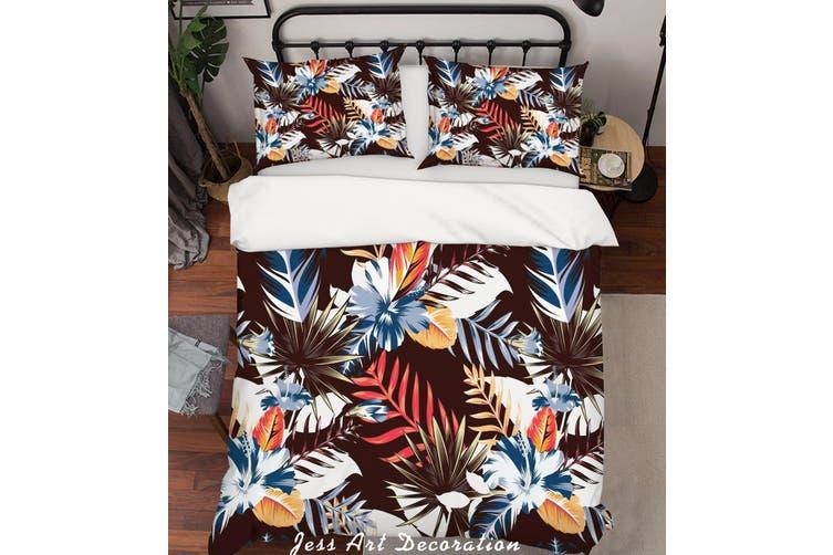 3D Blue Leaves Quilt Cover Set Bedding Set Pillowcases 123-Double