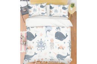 3D Cartoon Octopus Dolphin Quilt Cover Set Bedding Set Pillowcases 122-Queen
