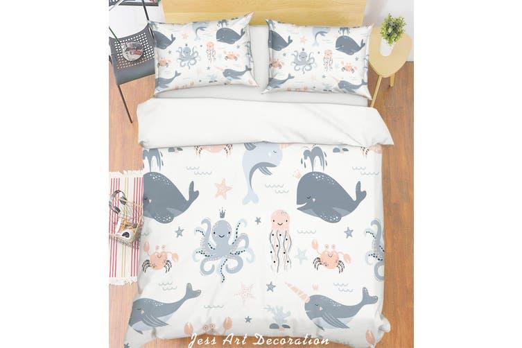 3D Cartoon Octopus Dolphin Quilt Cover Set Bedding Set Pillowcases 122-King