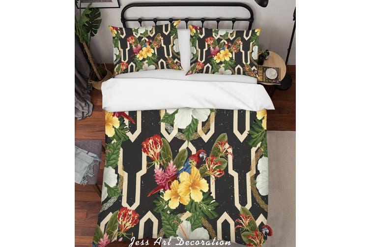 3D Parrot Yellow Flowers Quilt Cover Set Bedding Set Pillowcases 121-Double