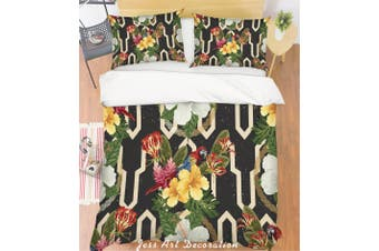3D Parrot Yellow Flowers Quilt Cover Set Bedding Set Pillowcases 121-King