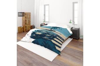3D Blue Portrait Quilt Cover Set Bedding Set Pillowcases  53-Single