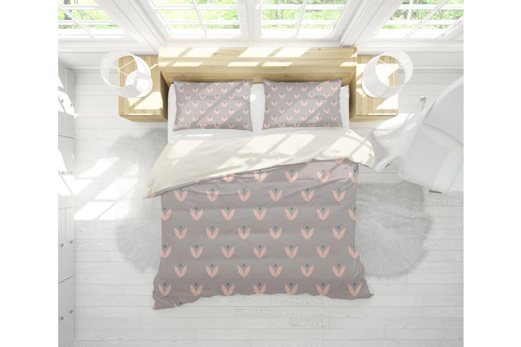 3D Grey Pink Leaves Quilt Cover Set Bedding Set Pillowcases 92-Single