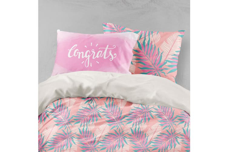 3D Tropical Leaves Pink Quilt Cover Set Bedding Set Pillowcases 11-Single