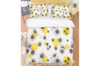 3D Grey Flowers Quilt Cover Set Bedding Set Pillowcases 112-Single