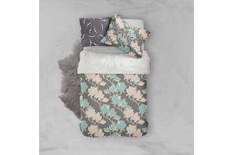 3D Grey Leaves Quilt Cover Set Bedding Set Pillowcases 98-Single