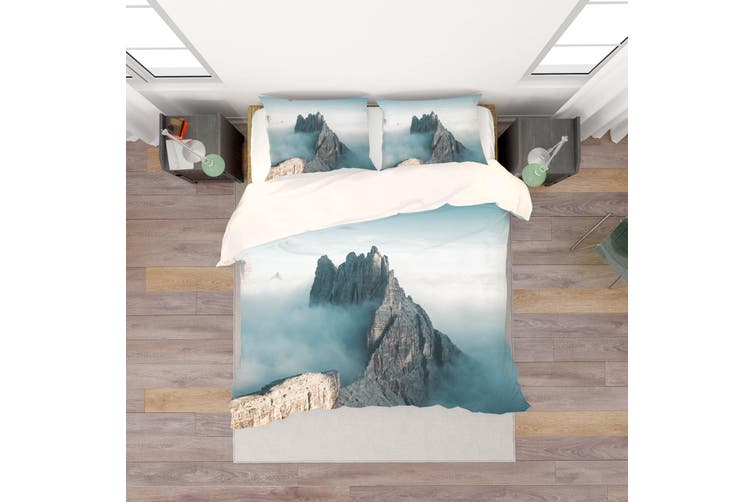 3D Mountains Fog Quilt Cover Set Bedding Set Pillowcases  2-Single