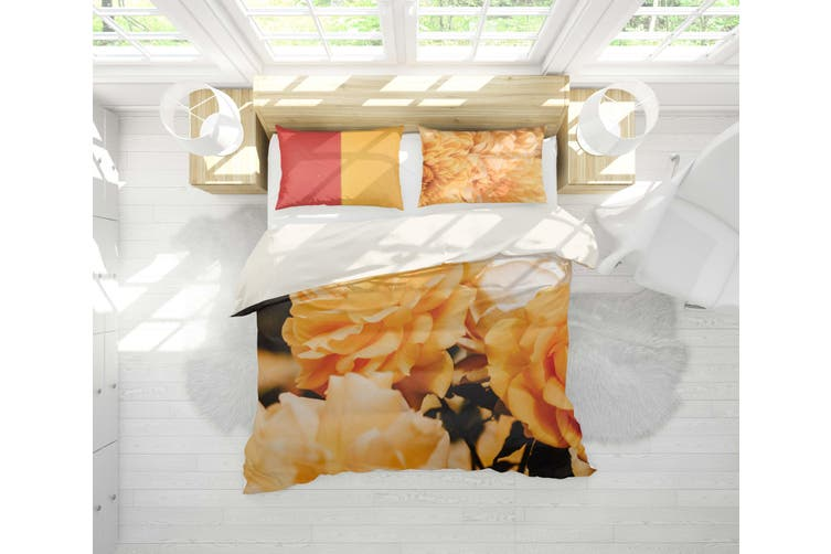 3D Yellow Flowers Quilt Cover Set Bedding Set Pillowcases 9-King