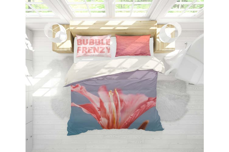 3D Pink Lily Quilt Cover Set Bedding Set Pillowcases 8-Single