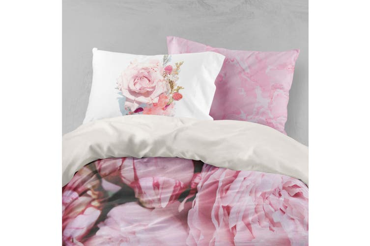 3D Pink Roses Quilt Cover Set Bedding Set Pillowcases 7-Double