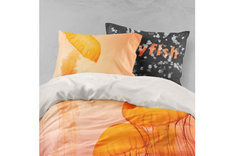 3D Orange Jellyfish Quilt Cover Set Bedding Set Pillowcases 4-King
