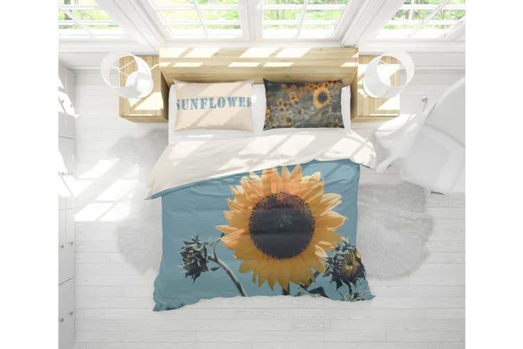 3D Sunflower Yellow Quilt Cover Set Bedding Set Pillowcases 2-Single