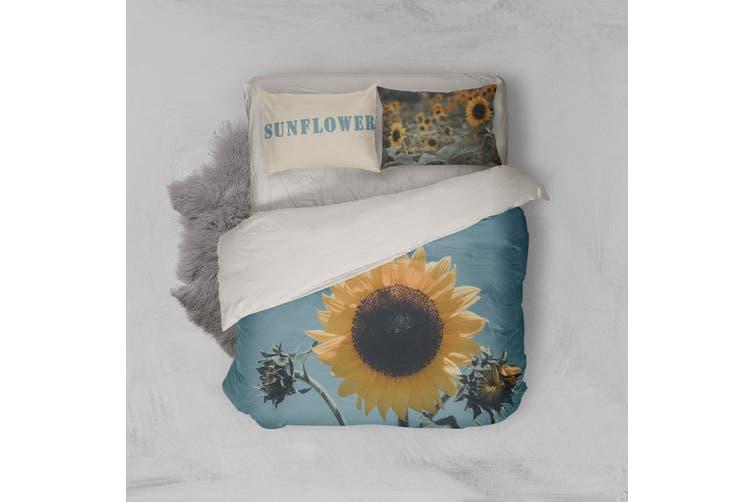 3D Sunflower Yellow Quilt Cover Set Bedding Set Pillowcases 2-Queen