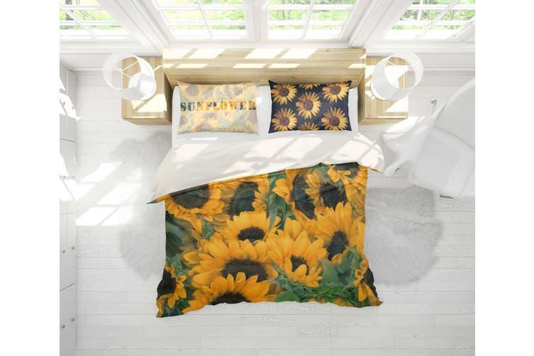 3D Sunflower Yellow Quilt Cover Set Bedding Set Pillowcases 1-Queen