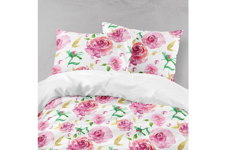 3D Red Flowers Quilt Cover Set Bedding Set Pillowcases 137-Double