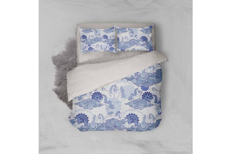 3D Blue Abstract Horse Clouds Quilt Cover Set Bedding Set Pillowcases 32-Single