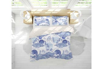 3D Blue Abstract Horse Clouds Quilt Cover Set Bedding Set Pillowcases 32-Double