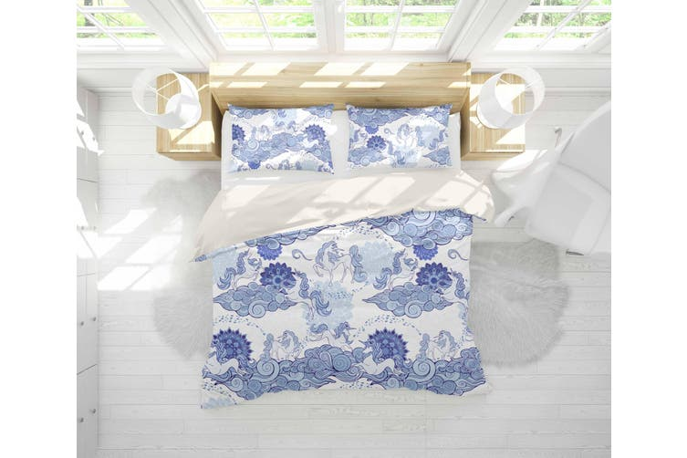 3D Blue Abstract Horse Clouds Quilt Cover Set Bedding Set Pillowcases 32-King
