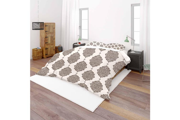 3D Brown Floral Khaki Background Quilt Cover Set Bedding Set Pillowcases 31-Double