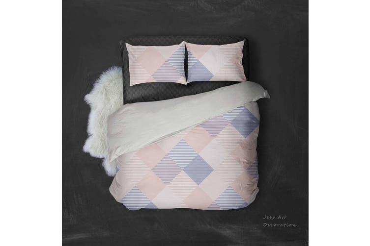 3D Pink Blue Checker Quilt Cover Set Bedding Set Pillowcases 29-Double