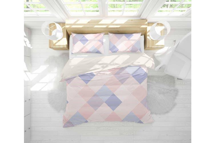 3D Pink Blue Checker Quilt Cover Set Bedding Set Pillowcases 29-Queen