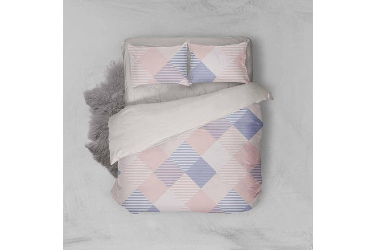 3D Pink Blue Checker Quilt Cover Set Bedding Set Pillowcases 29-King