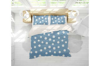 3D White Floral Blue Background Quilt Cover Set Bedding Set Pillowcases 28-Queen