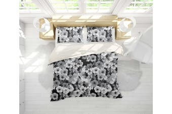3D White Floral Dark Background Quilt Cover Set Bedding Set Pillowcases 27-Single