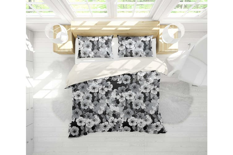 3D White Floral Dark Background Quilt Cover Set Bedding Set Pillowcases 27-King