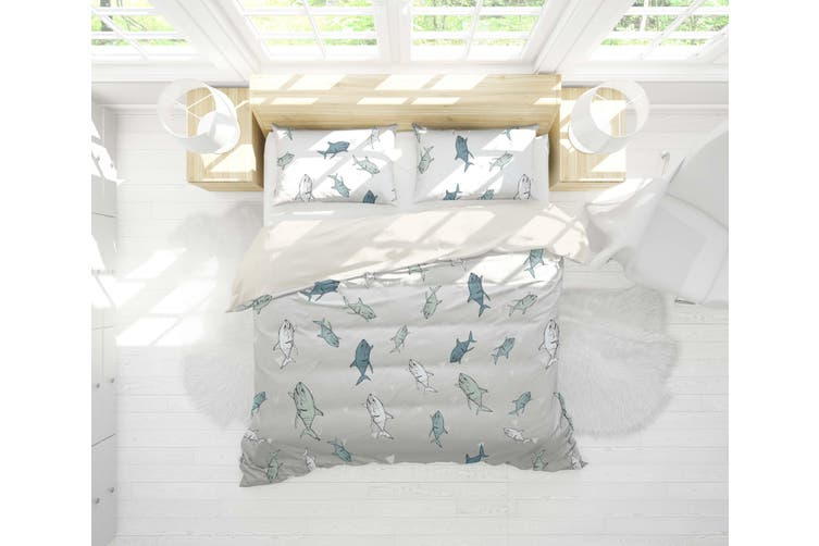 3D Cartoon Shark Quilt Cover Set Bedding Set Pillowcases 26-Double