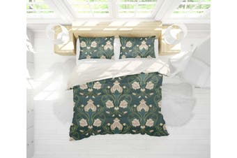 3D Abstract Floral Pattern Dark Green Quilt Cover Set Bedding Set Pillowcases 24-Single
