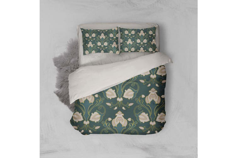 3D Abstract Floral Pattern Dark Green Quilt Cover Set Bedding Set Pillowcases 24-Double
