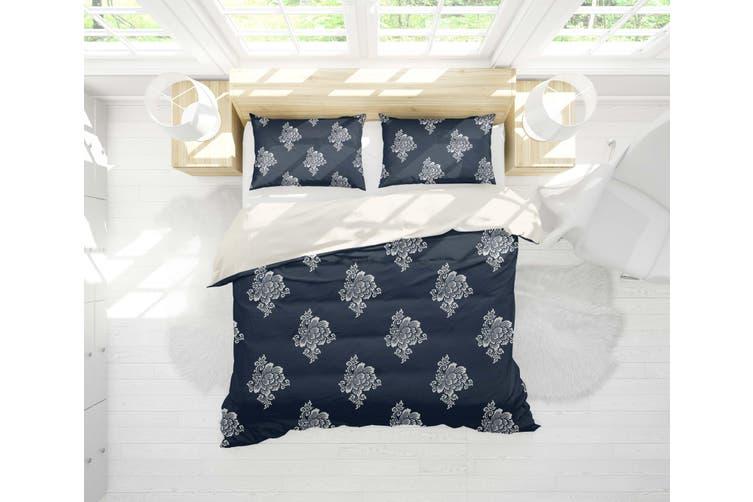 3D Light Floral Pattern Dark Blue Quilt Cover Set Bedding Set Pillowcases 22-Single
