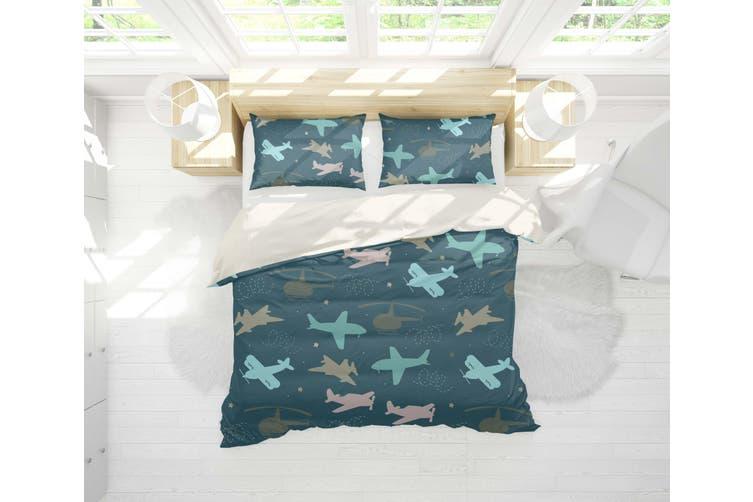 3D Dark Green Airplane Model Quilt Cover Set Bedding Set Pillowcases 21-King