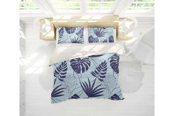 3D Blue Palm Leaves Quilt Cover Set Bedding Set Pillowcases 20-Double