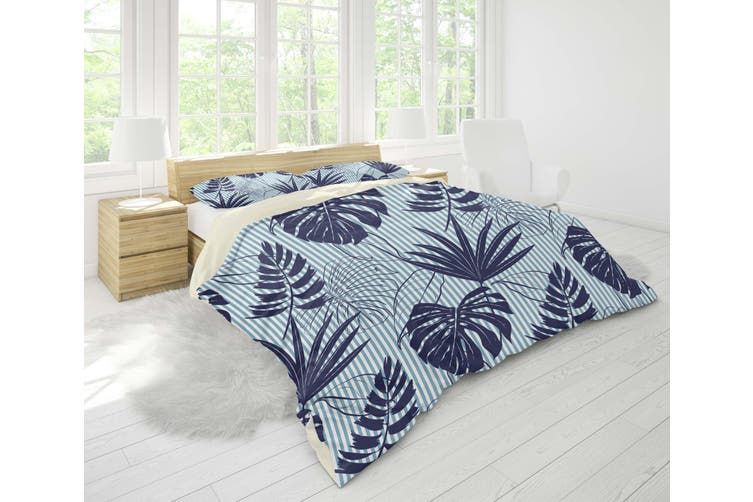 3D Blue Palm Leaves Quilt Cover Set Bedding Set Pillowcases 20-King