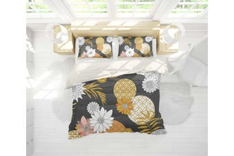 3D White Yellow Floral Quilt Cover Set Bedding Set Pillowcases 18-Double