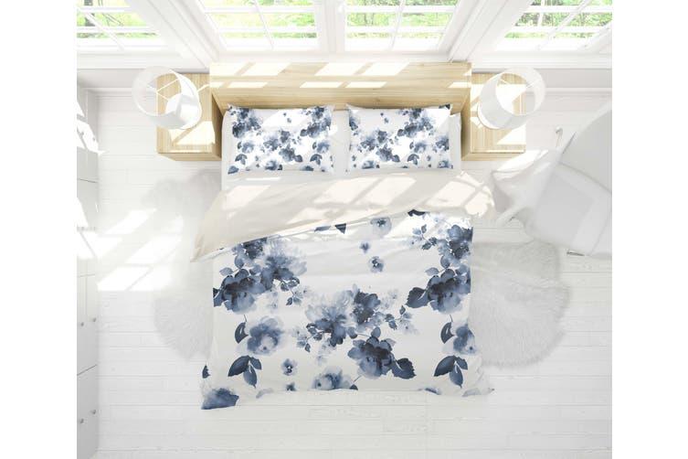 3D Blue Ink Floral Quilt Cover Set Bedding Set Pillowcases 15-Double