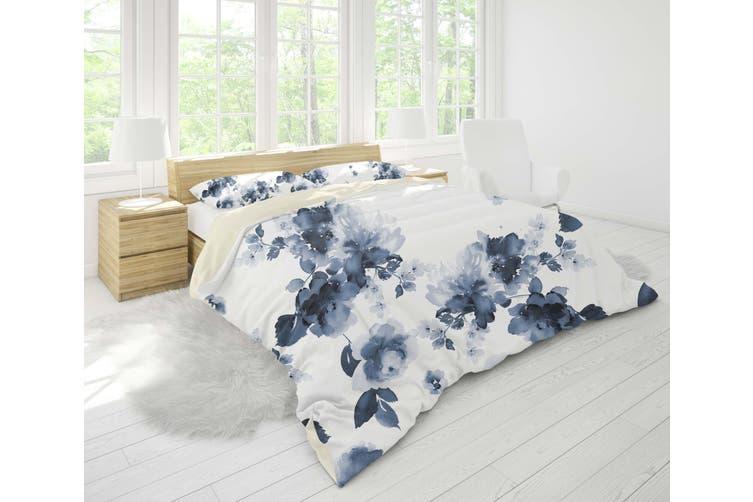 3D Blue Ink Floral Quilt Cover Set Bedding Set Pillowcases 15-King